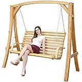 Columpio de madera Alerce | Juego de jardín columpio | estructura de madera con 3plazas banco de madera, para interior y exterior