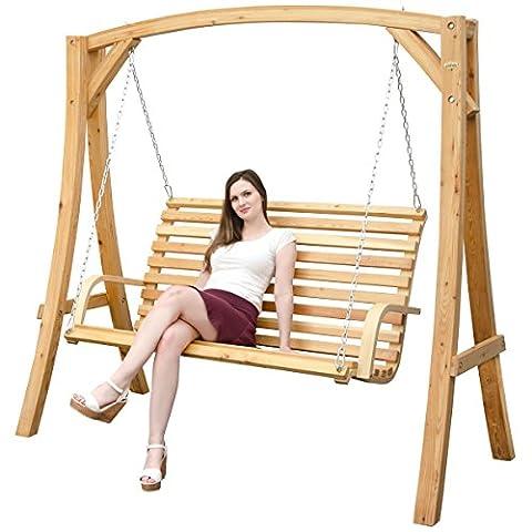Balancelle en bois Mélèze   Balancelle de jardin–structure en bois avec 3places banc en bois–pour intérieur et extérieur