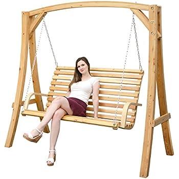 Hollywoodschaukel aus Holz Lärche | Gartenschaukel Set | Holzgestell mit 3-sitzer Holzbank | Für Innen und Außen