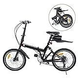 Ridgeyard Bicicletta pieghevole 20 pollici a 6 marce Bici pieghevole + LED batteria + borsa sella + campana bici (nero)