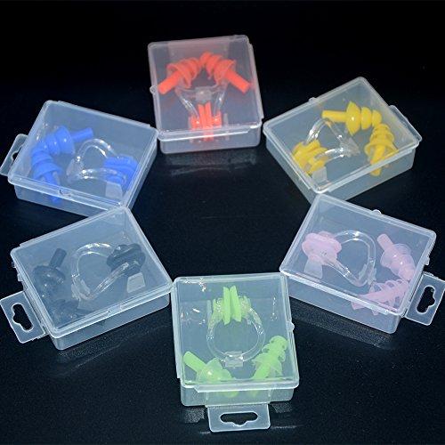 Baoii 6-Ohrstöpsel und Nasenklammer, Silikon-Gel-&-Aufbewahrungsbox, für Erwachsene und Kinder,