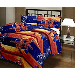 Frabjous Spiderman Cartoon Printed Polycotton Double Bed Reversible AC Dohar/Blanket/Quilt For Kids (Blue) Diwali Gift for Home