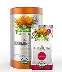 Organic Blooming Tea - 14-Count Variety Pack of Flowering Tea in a Gift Canister - 100% Organic Calendula Flowers and Green Tea Leaves in Hand Sewn Blooming Tea Balls - 2 of Each Wonderful Flavor