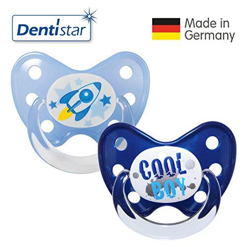 Dentistar® Silikon Schnuller 2er Set inkl. 2 Schutzkappen - Nuckel für Babys Größe 3, ab 14 Monate – Rakete & Cool Boy