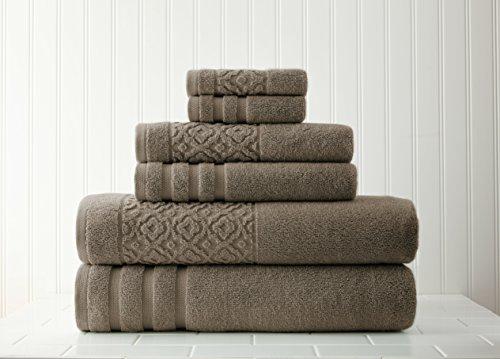 Pacific Coast Textilien 6Pc Handtuch mit Jacquard Bordüre, Mokka, 6 Hand Moc