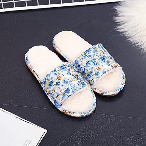 DogHaccd pantofole,In autunno inverno soggiorno indoor home giovane cotone  mop girl pu cuoio pavimenti