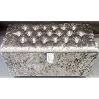 Chesterfield Crushed Velvet Ottoman Pouffe Storage Box Toy box Blanket Box (Silver Crushed Velver)
