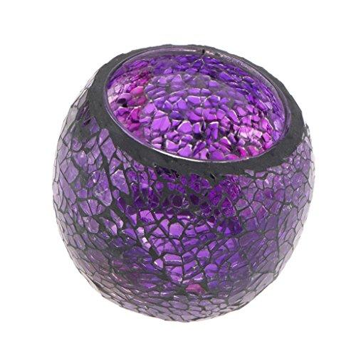 non-brand Sharplace Mosaik Teelichthalter Teelicht Halter Windlicht Kerzenhalter Mosaikglas Kugel für Wohnzimmer Schlafzimmer - Lila