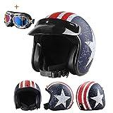 Member Offener Motorradhelm Motorrad Cafe Racer Cruiser Chopper Offener Retro-Helm Motocross...