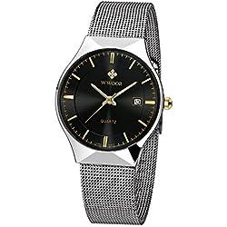 WWOOR Herren Elite Sport Armbanduhr Männlich Mesh Band Uhr mit Datum schwarz