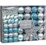 Weihnachtsbaumschmuck-Set 50 Teile –Eis-Blau & Silberfarben