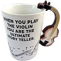 Taza de cerámica Musicologymarrón blanco (violín)- ...