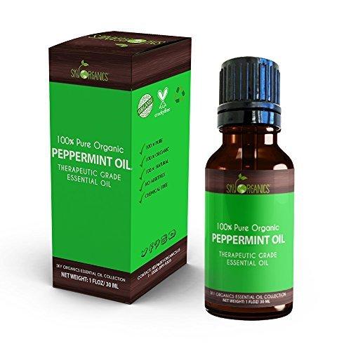 Sky Organics Ottimo olio essenziale puro di menta piperita, 100% biologico, di grado terapeutico, per diffusori, aromaterapia, massaggi, allergie, emicranie, aroma per candele e bagno, 30ml