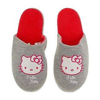 Hausschuhe Damen weich Hello Kitty grau warm Kinder Schlappen Slipper - 35/38-39/42 (39-42)