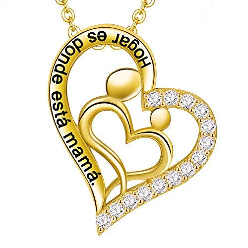 LOVORDS Collar Mujer Grabado Plata de Ley 925 Colgante Corazón Mamá Hijos Regalo Madre