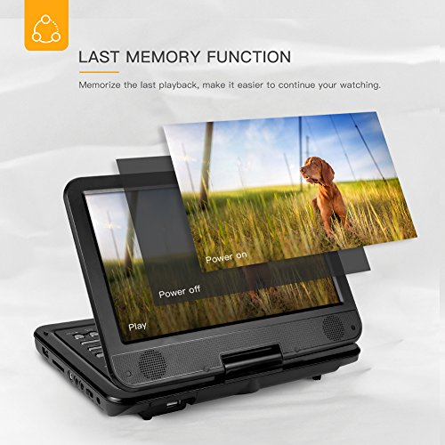 """51I9Vw528xL. SS500  - APEMAN Upgraded 12.5"""" Portable DVD Player with Built-in 6 Hrs Rechargeable Battery SD Card/USB AV IN/OUT with 10.5'' Swivel Screen Supported Direct Play in Formats AVI/RMVB/MP3/JPEG, Home/Hospital/Car"""