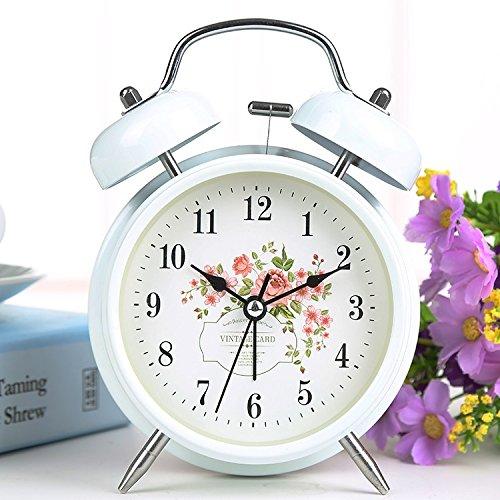 KOMO modernen minimalistischen mute Tischuhr personalisierte Modell für kreative Kinder Cartoon Kunst Studenten und der Leiter des Bett Wohnzimmer Schlafzimmer mit Zeitschaltung Wecker, 4 Zoll weiße Blumen 1. (Blume Wecker)