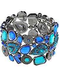 Alilang Faux Leather Layered Country Studded Button Snap Wrap Cuff Bracelet