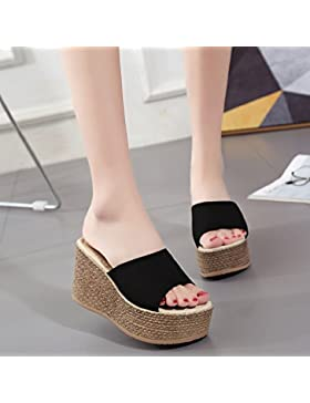 KPHY-La chica en el verano sandalias pendiente con Taiwán High-Heeled impermeable grueso y plano elegante y versátil...