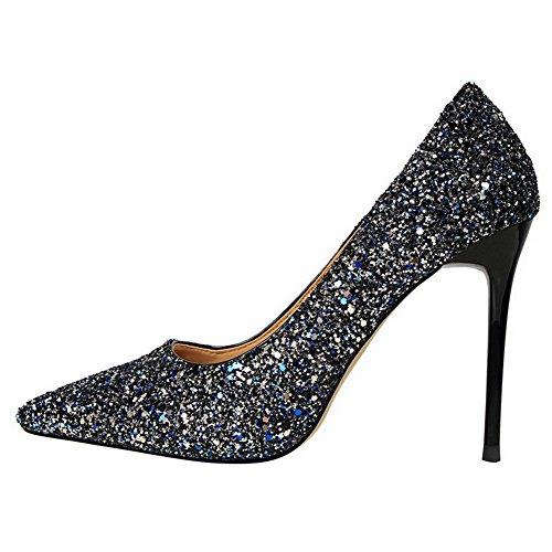AalarDom Femme Couleur Unie à Talon Correct Pointu Tire Chaussures Légeresavec Paillette Bleu