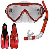 Tauchset Dunlop mit Farb- und Größenauswahl - Schnorchel Set - Tauchermaske - Schnorchel - Schwimmflossen (Rot, 40-42)