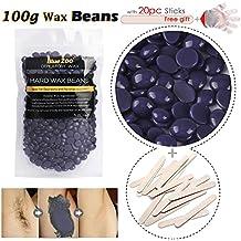 Cera Depilatoria en Perlas , PelíCula Caliente Moda Bikini DepilacióN para Hombre Mujer Cuerpo Piel, Piernas, Piernas, Muslos, Pecho Hard Wax Beans + 20 EspáTulas + 5 Guantes (Lavanda)