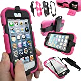Coque Protection Robuste Usage Survivant Antichoc Robuste pour iPhone 3 3G 3GS - Rose vif, Apple iPhone 5S / 5