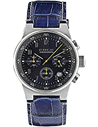 FOCE Blue Round Analog Chronograph Wrist Watch for Men with Blue Genuine Leather Strap - FC109GSL-BLUE