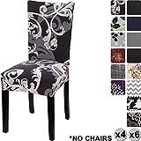 Housse de chaise de maison Yisun - Style moderne - En Spandex - Housses pour chaise haute - 4 à 6 housses, Black + Flower Parttern, Lot de 6