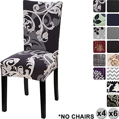 Yisun coprisedie con schienale, moderno coprisedia elastico per coprisedie sala da pranzo rivestimento sfoderabile, fodere sedie con schienale copertura protettiva per sedie (nero/fiore, 4 pezzi)