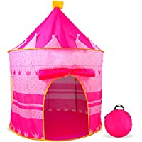 AGREATLIFE Pink Castle Tent for Girls - Indoor or Outdoor Teepee Pop Up Tent for Little Princesses, Best for Sleep Overs, Camping, Parties and All Occasions