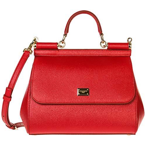 Dolce&Gabbana Leder Handtasche Damen Tasche Bag sicily Rot