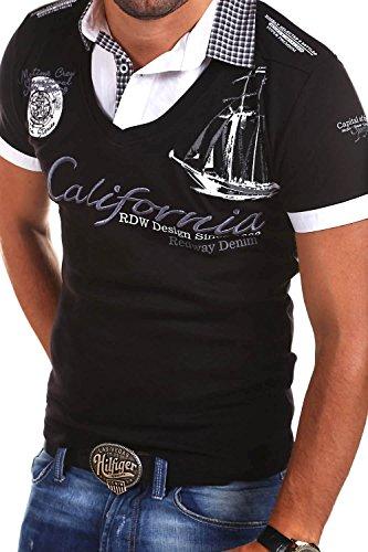 MT Styles 2in1 Poloshirt WI-CALI T-Shirt R-2345 Schwarz