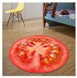 GRENSS 100 cm Runde 3 D Obst Bereich Wolldecke Home Eingang/Flur Fußmatte Computer Stuhl Fußmatte Garderobe Teppich Kinder Spielteppich, Tomate, 160 cm Durchmesser