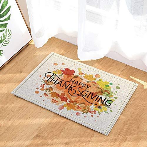 (yinyinchao Western Dekor,Thanksgiving Against Watercolor Maple Leaves Badteppiche,Rutschfeste Fußmatte Bodeneingänge Indoor-Türmatte Vorne,Kinder Badematte,40X60Cm,Bad-Accessoires)