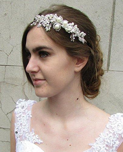 Ivoire Blanc Argent Perle Bandeau de Mariée Bandeau Fleur Vintage Années 30 Années 60 * * * * * * * * exclusivement vendu par – Beauté * * * * * * * *