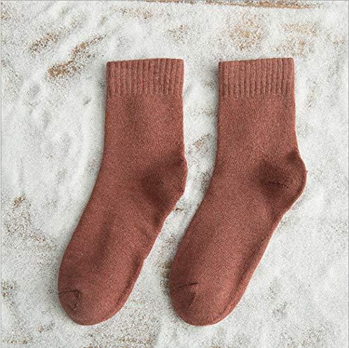 DCPPCPD Socken Damen 4 Paar Anzüge Winter Wärme Atmungsaktivität Baumwolle Mädchen Weichheit Mid-Barrel Verdickung, 03 (4 Paare)