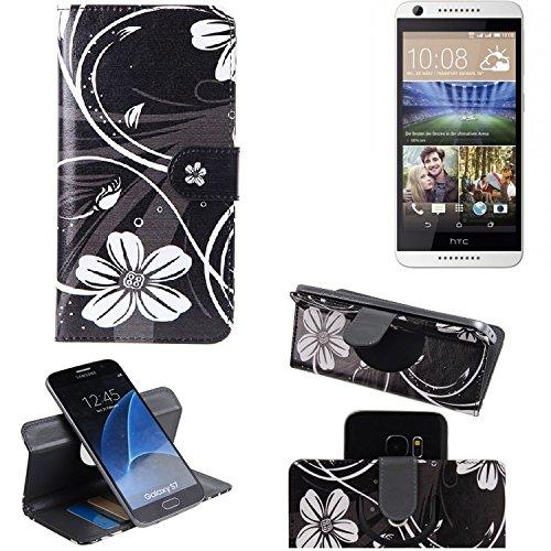 K-S-Trade® Schutzhülle Für HTC Desire 620G Dual SIM Hülle 360° Wallet Case Schutz Hülle ''Flowers'' Smartphone Flip Cover Flipstyle Tasche Handyhülle Schwarz-weiß 1x