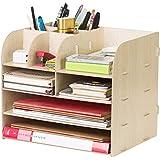 Organiseur de bureau en bois Boîtes Étagère de Rangement à 4 Compartiments avec Tiroir Porte-Documents Porte-Revues Multifonc