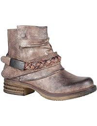 Stiefelparadies Damen Stiefeletten Biker Boots mit Blockabsatz Schnallen  Nieten Flandell 7e7632323e