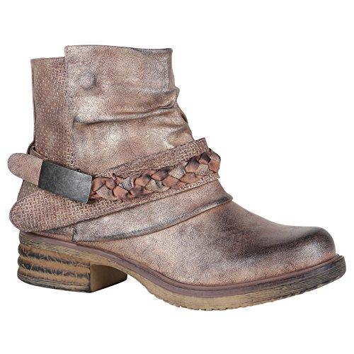 Stiefelparadies Damen Stiefeletten Biker Boots Nieten Schnallen Leder-Optik Schuhe 148776 Rose Gold Flechte 36 Flandell