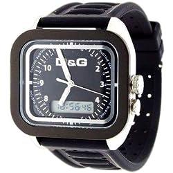 Dolce Gabbana - DW0299 - Montre Homme - Quartz Analogique et Digitale - Multifonctions - Bracelet en Caoutchouc Noir