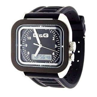 D&G Dolce&Gabbana DW0299 – Reloj analógico – digital de caballero de cuarzo con correa de goma negra (alarma) – sumergible a 50 metros