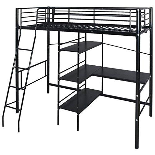 Festnight Hochbett mit Schreibtisch Regal Metallrahmen Funktionsbett Kinderzimmer Jugendbett für Matratzengröße 200x90cm - - Leiter Schwarz Schreibtisch
