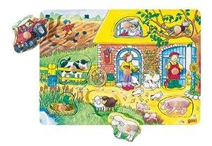Goki-57805 Puzzles de Madera Encaje con Dibujos Escondidos Granja, (4013594578059)