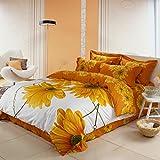 100% Baumwolle 4 Stück weißen und gelben Sonnenblume drucken bed set Queen Size 3d-Bettwäsche