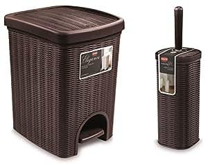 tolles 2tlg badezimmerset im rattan design kosmetikeimer tretm lleimer 20 liter und dazu. Black Bedroom Furniture Sets. Home Design Ideas
