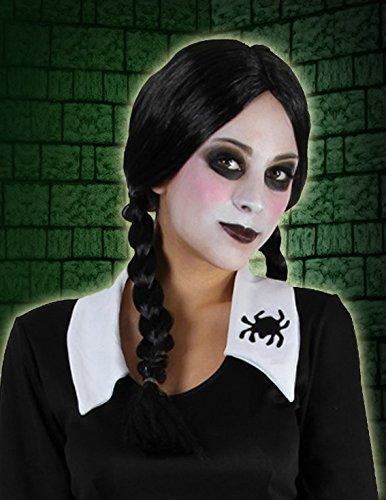 ücke mit Zöpfen Addams Mittwoch (Mittwoch Halloween-kostüm)