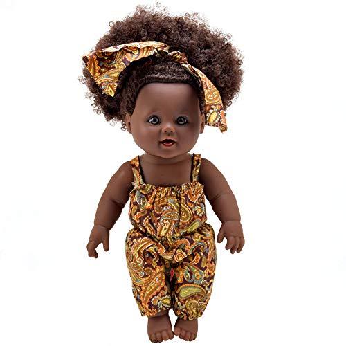 1PC African American Puppe Naturgetreue 12 Zoll-Baby-Spielpuppen mit lockiges Haar Braune Augen Baby Doll Zubehör für Kinder (Baby Bed Doll Spielen)