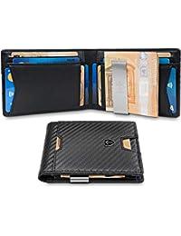 TRAVANDO ® Geldbeutel mit Geldklammer Zurich - 11 Kartenfächer - TÜV geprüft - Slim Design - RFID Schutz - Kleines Münzfach - Das Original - inklusive Geschenk Box - Designed in Germany
